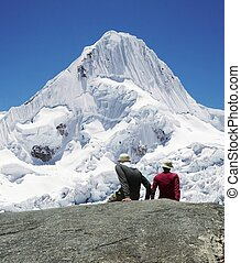 Girl and boy in mountain Cordilleras