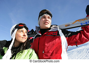 Girl and boy in mountain