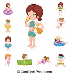 girl and boy in swimsuit isolated, kids summer vacation