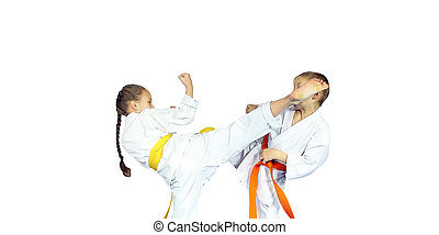 Girl and boy is beating leg