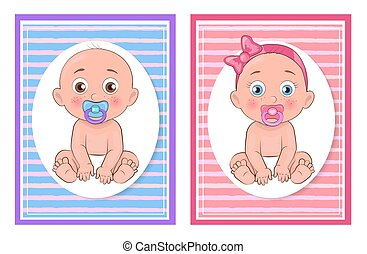 Girl and Boy Kids Collection Vector Illustration
