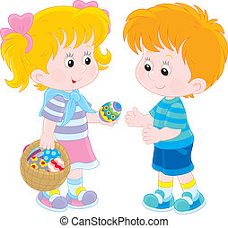 Girl and boy on Easter Day - Little girl gives a boy a...