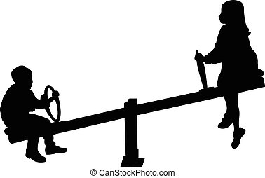 girl and boy playing, seesaw