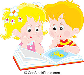 Girl and boy readers - Vector clip-art illustration of ...