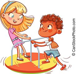 Girl and boy ride on small carousel. Amusement park