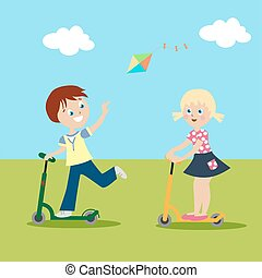 Girl and boy riding on scooters on the green lawn. Clouds and kite flying in the sky. Sunny day. Isolated on white background. Vector, illustration EPS10.