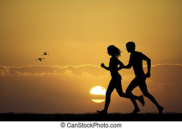 Girl and boy running