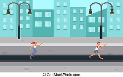 girl and boy running on the road