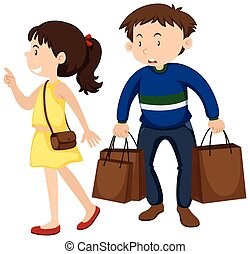 Girl and boy shopping together