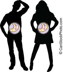 Girl and Boy Silhouette with Butterflies in the Stomach. ...