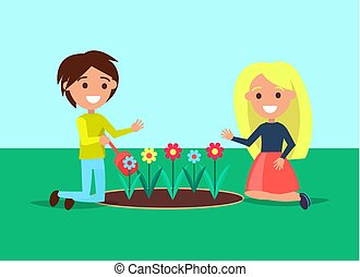 Girl and boy sitting near flower bed vector illustration of young gardeners with shovel isolated on green. Children planting blooming buds standing on knees