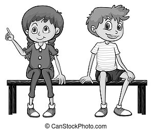 Girl and boy sitting on a bench