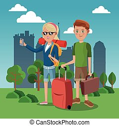 girl and boy tourist with rucksack suitcase green field city background