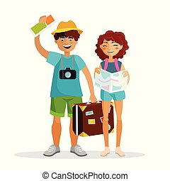 Girl and boy tourists are traveling together isolated on white background. Couple of young people have journey with suitcase, map and leaflet with camera. Traveling concept vector flat illustration.