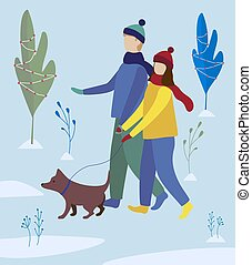 girl and boy walking a dog in winter park. family walk. Flat illustration