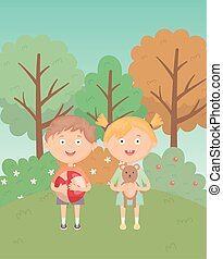 girl and boy with ball and teddy in the grass park, kids toys
