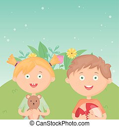 girl and boy with ball and teddy outdoors, kids toys