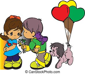 girl and boy with balloons
