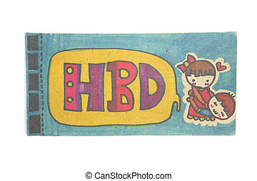 Girl and boy with Happy birth day by pastel on wood