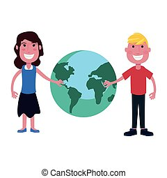 girl and boy with world