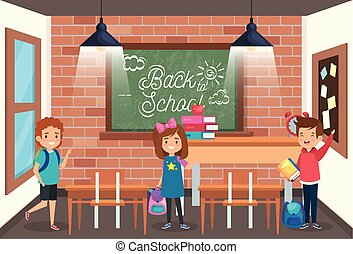 girl and boys student with books and apple fruit