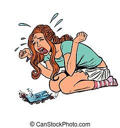 girl and broken phone, crying screaming. Comic cartoon pop art retro vector illustration drawing