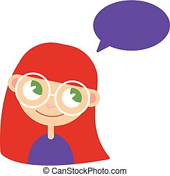 girl and bubble for speech. Vector