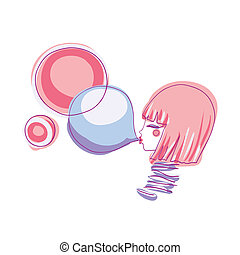 girl and bubble gum - girl inflates bubbles gum. vector...
