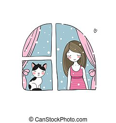 girl and cat at the window.
