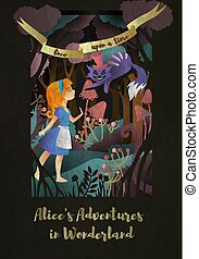 "Girl and Cat in front of forest. Inscription ""Alice's adwentures in wonderland"" book cover or poster design"