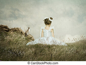 Little girl and cat sitting in the field of rye over the precipice