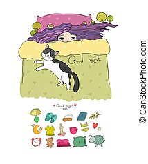 Girl and cats. Set for sleep. Vector illustration. bed time....