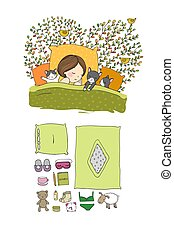 Girl and cats sleep in bed. Good night. Sweet dreams. Vector illustration. bed time.