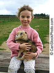 girl and chihuahua - little girl and her purebreed chihuahua