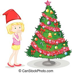 Girl and christmas tree
