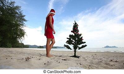 girl and Christmas tree