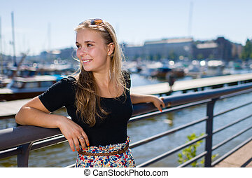 Girl and city harbour