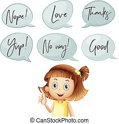 Girl and different speech bubbles with words illustration