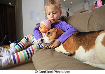 Girl and dog are best friends