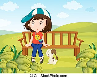 Girl and dog in the park