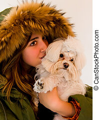girl and dog portrait