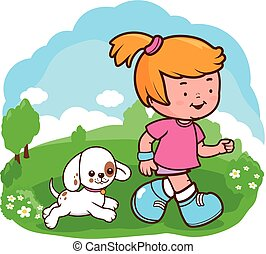 Girl and dog running at the park. Vector illustration