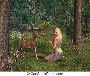 Girl and Fawns - Girl and fawns in a woodland glade, 3d...
