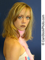Girl and feather boa - Hot girl with metallic/glitter makeup...