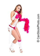Girl and feather boa - Attractive young girl posing with...