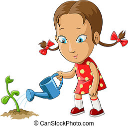 Girl watering a plant from watering can, vector