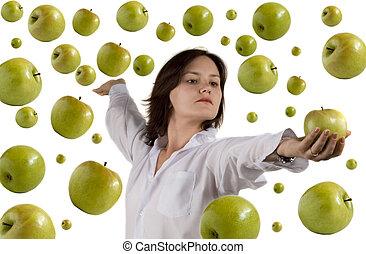 girl and flying apple