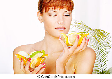 Girl and fruits