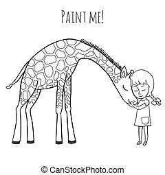 Girl and giraffe