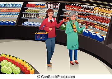 Girl and Grandmother Going Grocery Shopping - A vector...